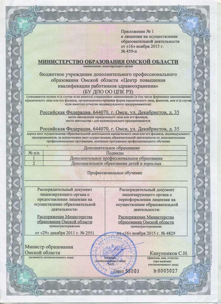 Приложение к лицензии