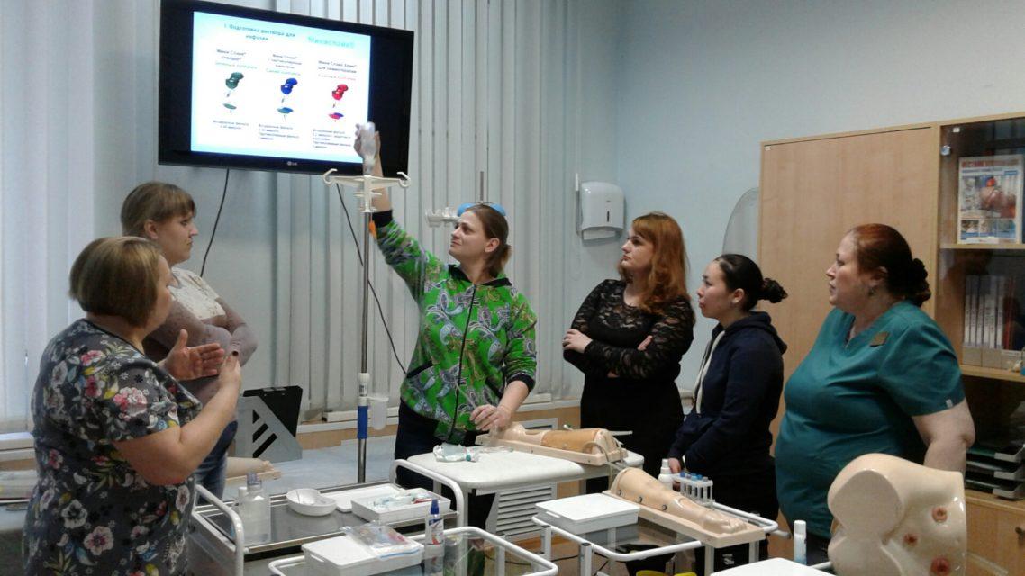14 января 2020 года состоялся мастер-класс по теме «Технологии внутривенного введения лекарственных средств». Преподаватель Вершинина И.П. Обучено 4 специалиста.